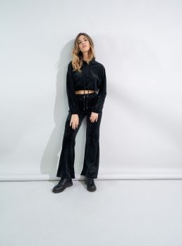 Pantaloni a zampa in ciniglia