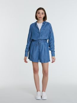 Shorts in lyocell con elastico