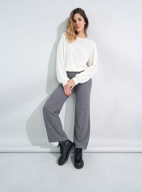 Pantaloni effetto maglia a zampa