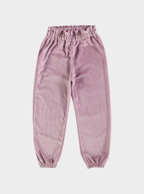 Pantaloni paper-bag effetto velluto