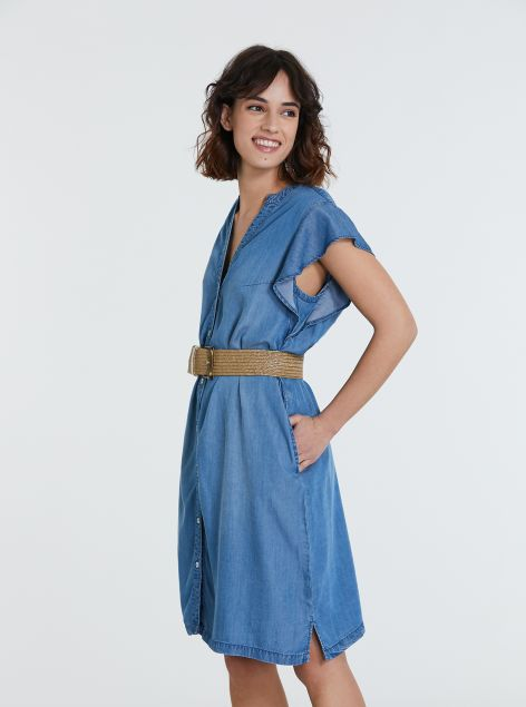 Vestito denim in lyocell