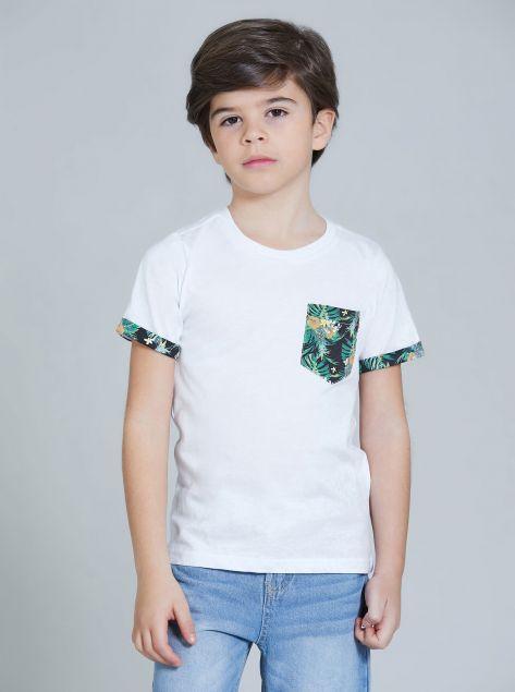 T-Shirt con dettagli tropicali