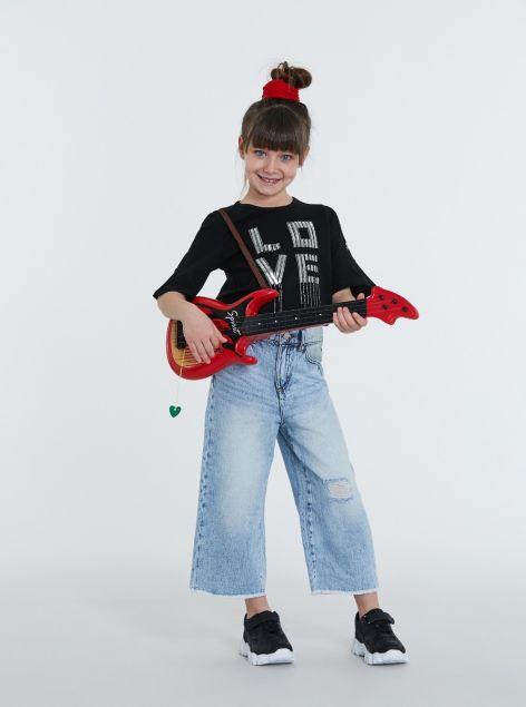 Jeans culotte sfilacciato
