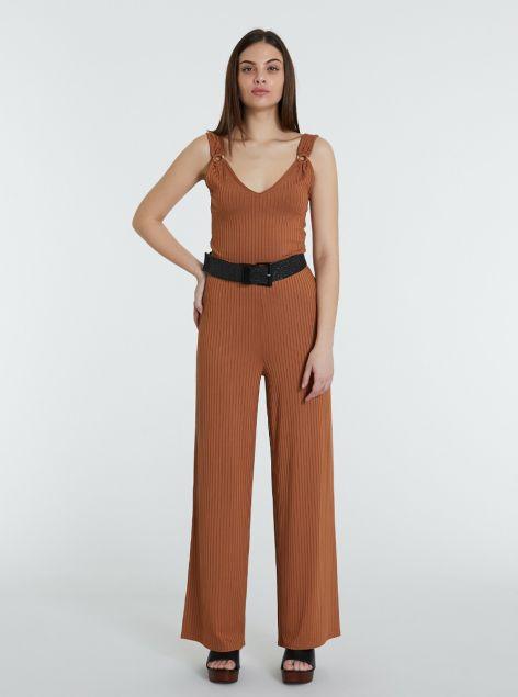Pantaloni a zampa a costine