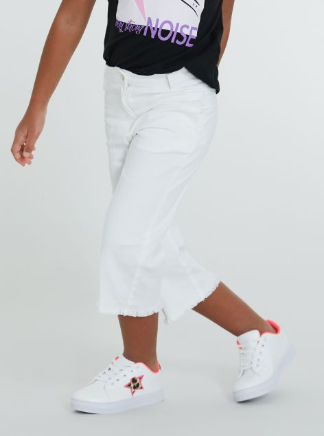 Pantaloni culotte sfilacciato
