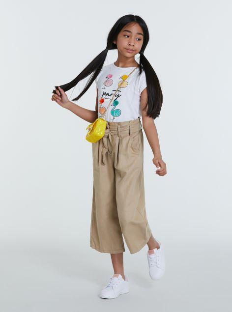 Pantaloni culotte in cotone e lino