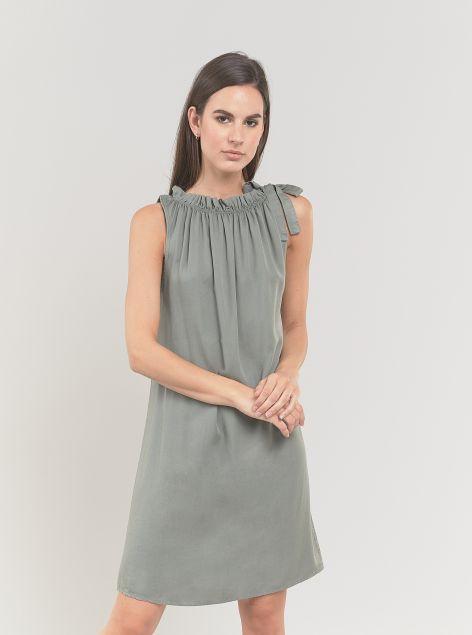 Vestito giromanica in tessuto leggero