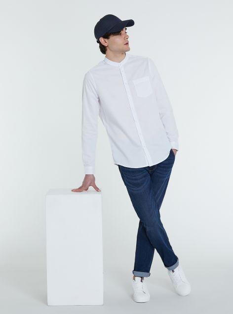 Camicia in cotone collo coreano