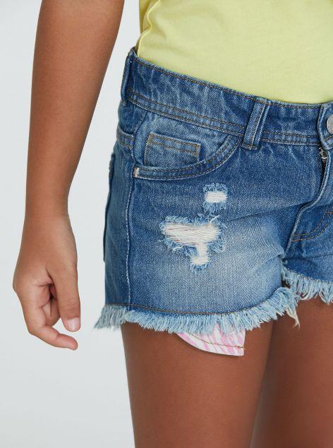 Shorts in denim con strappi