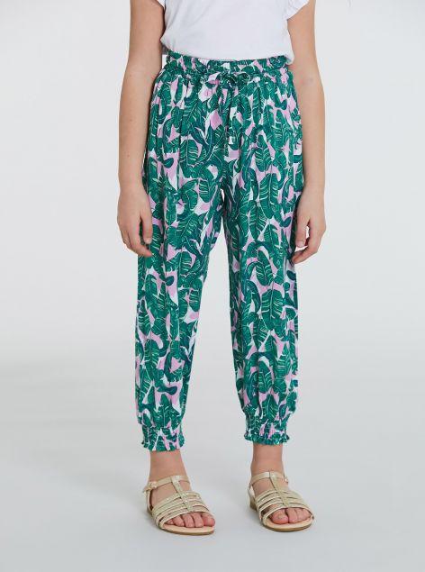 Pantaloni con elastico vita alta