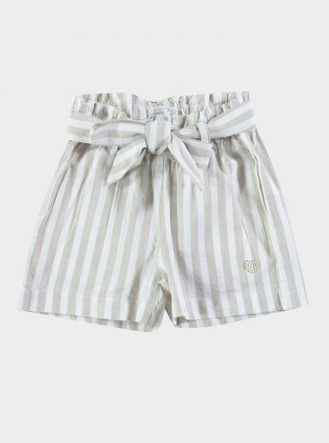 Shorts con fiocco a righe
