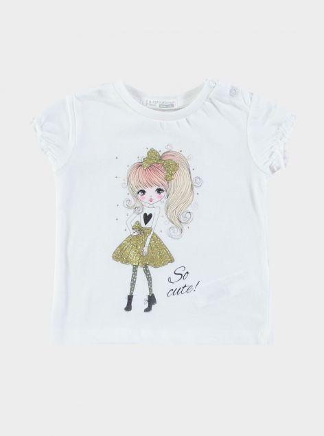 T-Shirt con stampa e manica arricciata