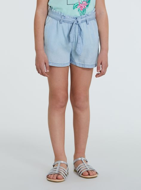 Shorts in lyocell con fiocco