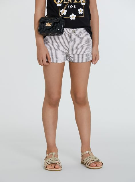 Shorts in cotone a righe
