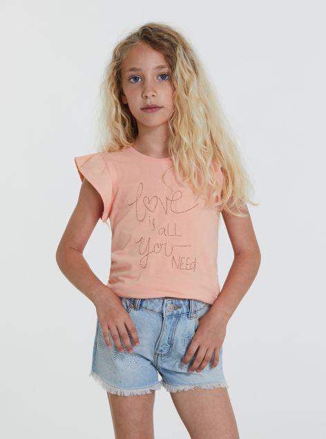T-Shirt maniche volant