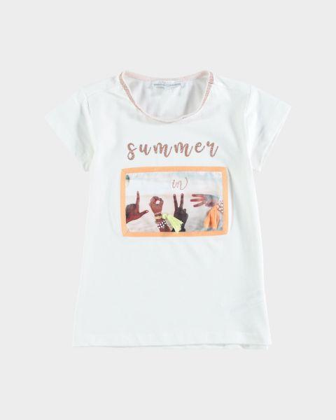 T-shirt con stampa e brillantini