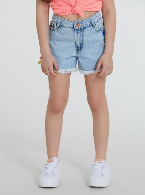 Shorts in denim con nappine