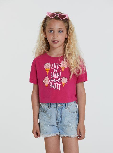 T-shirt con dettagli in rilievo