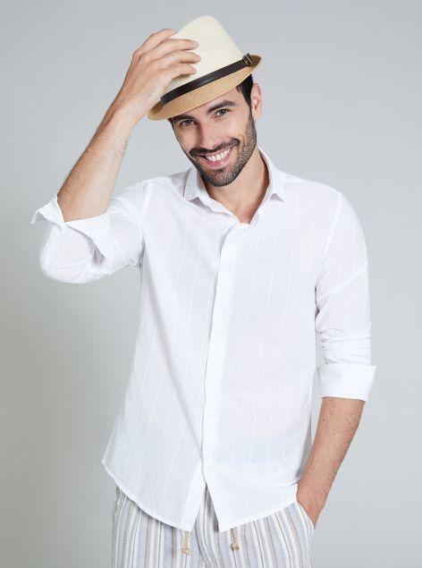 Camicia in cotone con righe a rilievo