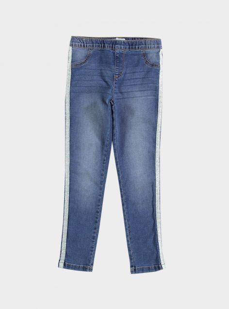 Jeans con bande glitterate