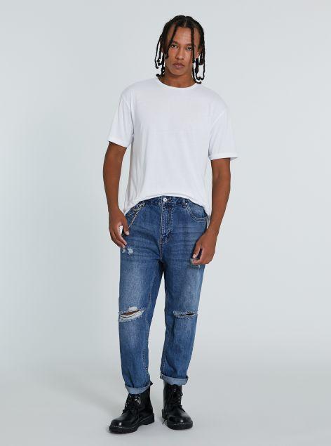 Jeans straight con strappi