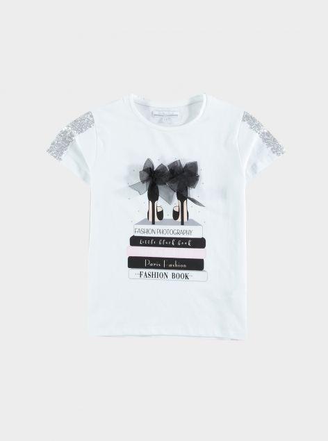 T-shirt stampa e paillettes