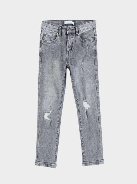 Jeans denim grigio con strappi