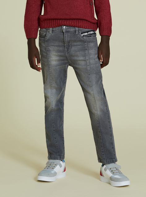 Jeans denim grigio con dettagli