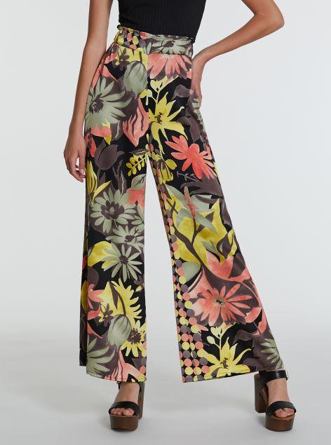 Pantaloni a zampa con stampe