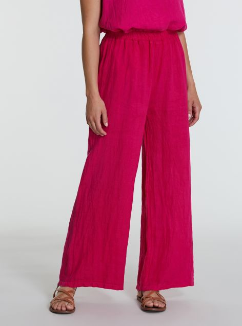 Pantaloni con elastico in lino