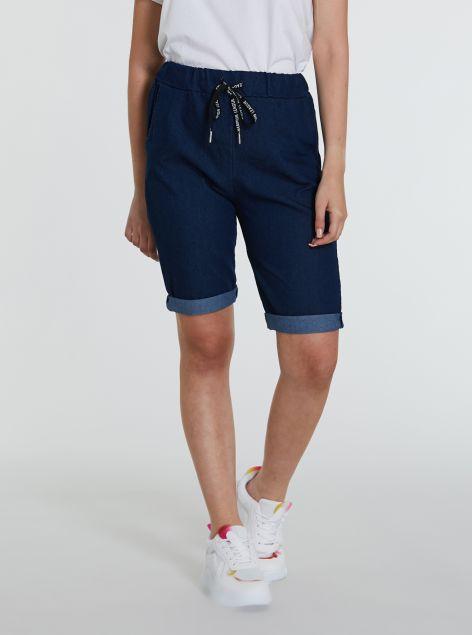 Shorts effetto denim elastico
