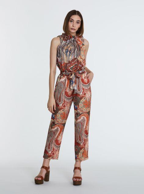 Pantaloni stampa damascata floreale