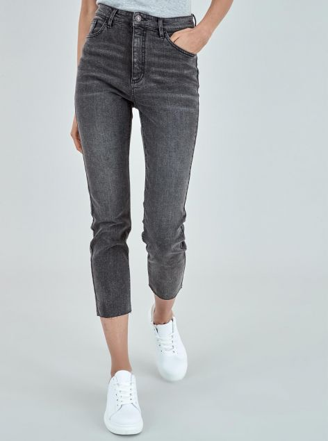 Jeans cropped straight high waist fit