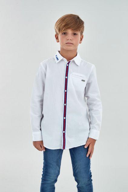 Camicia con banda a contrasto