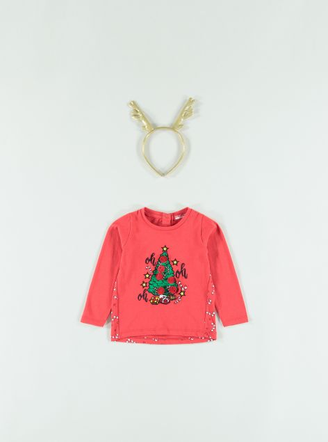T-Shirt Natale con cerchietto