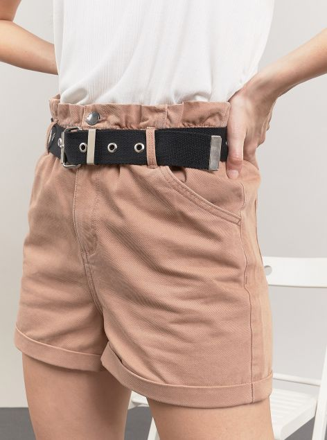 Shorts in cotone con cintura in vita
