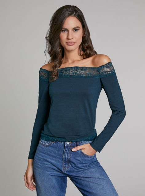 T-shirt con pizzo