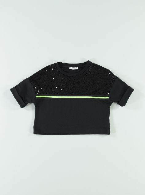 T-shirt cropped con paillettes