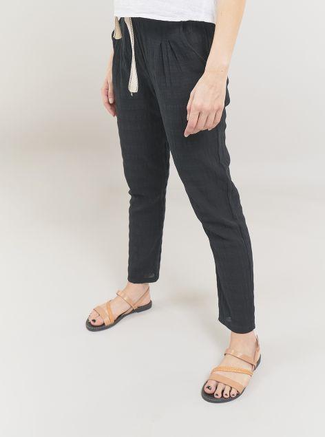 Pantaloni in misto lino e cotone