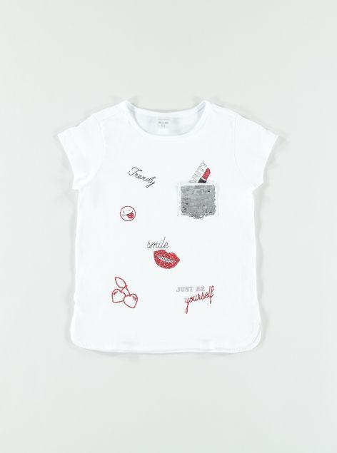 T-Shirt con stampa e paillettes