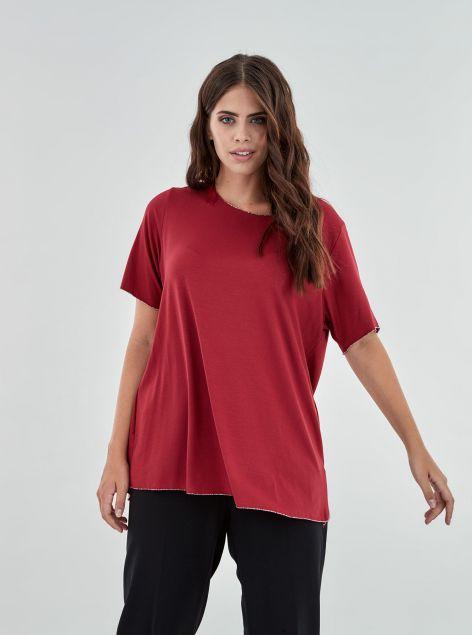 T-Shirt con orli in lurex