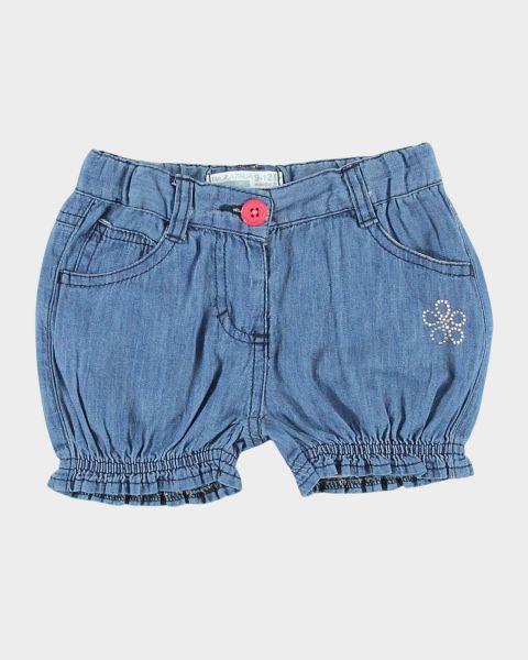 Shorts in denim con orli arricciati