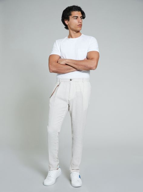 Pantalone misto lino e cotone da uomo