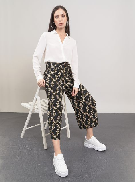 Pantaloni culotte con fascia regolabile