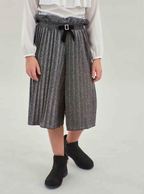 Pantaloni coulotte in lurex