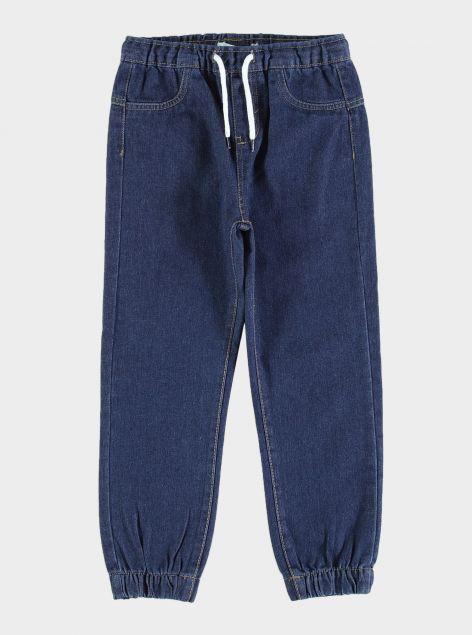 Jeans con elastico e laccetto