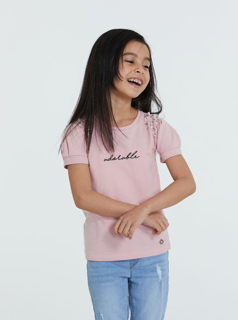 T-Shirt con perline ed applicazioni