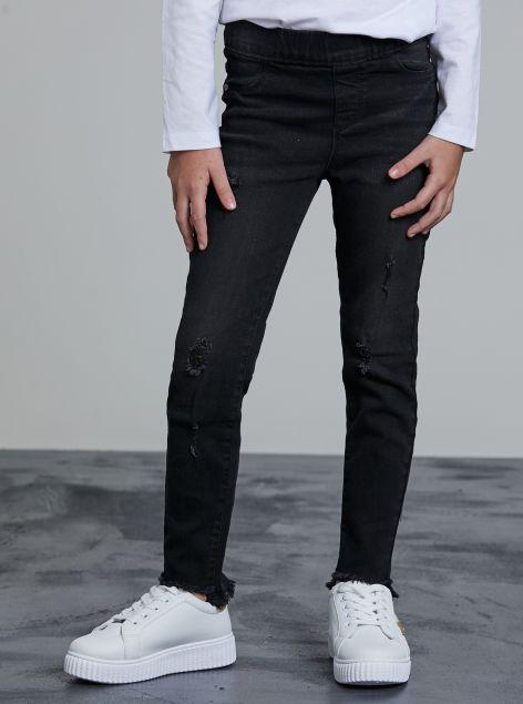 Jeans sfrangiato con elastico