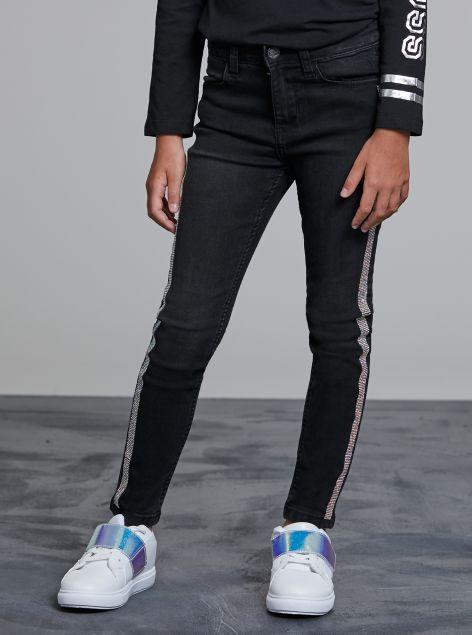Jeans con bande scintillanti