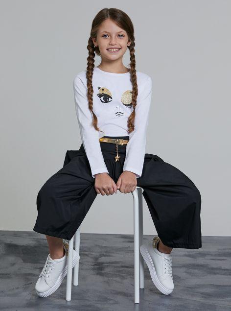 Pantalone culotte con cinturino